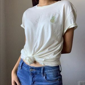 Embroidered Pineapple Basic Top